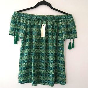 NWT Skies Are Blue Green Off The Shoulder XS